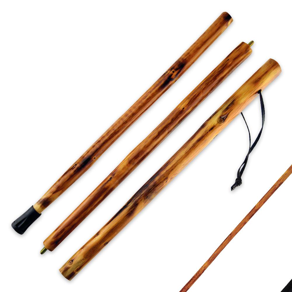 Detachable wooden walking hiking stick piece cutlery usa