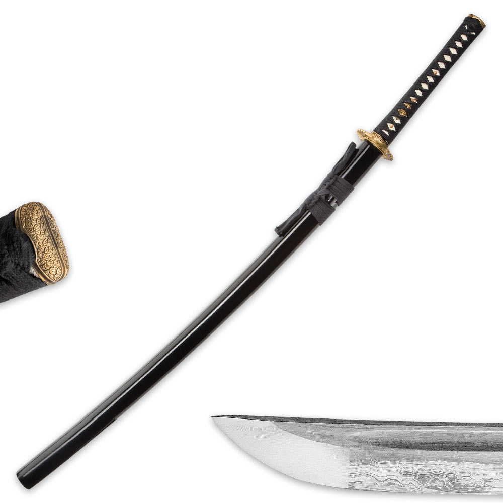 Hand Forged Musha Damascus Steel Katana Sword With ...