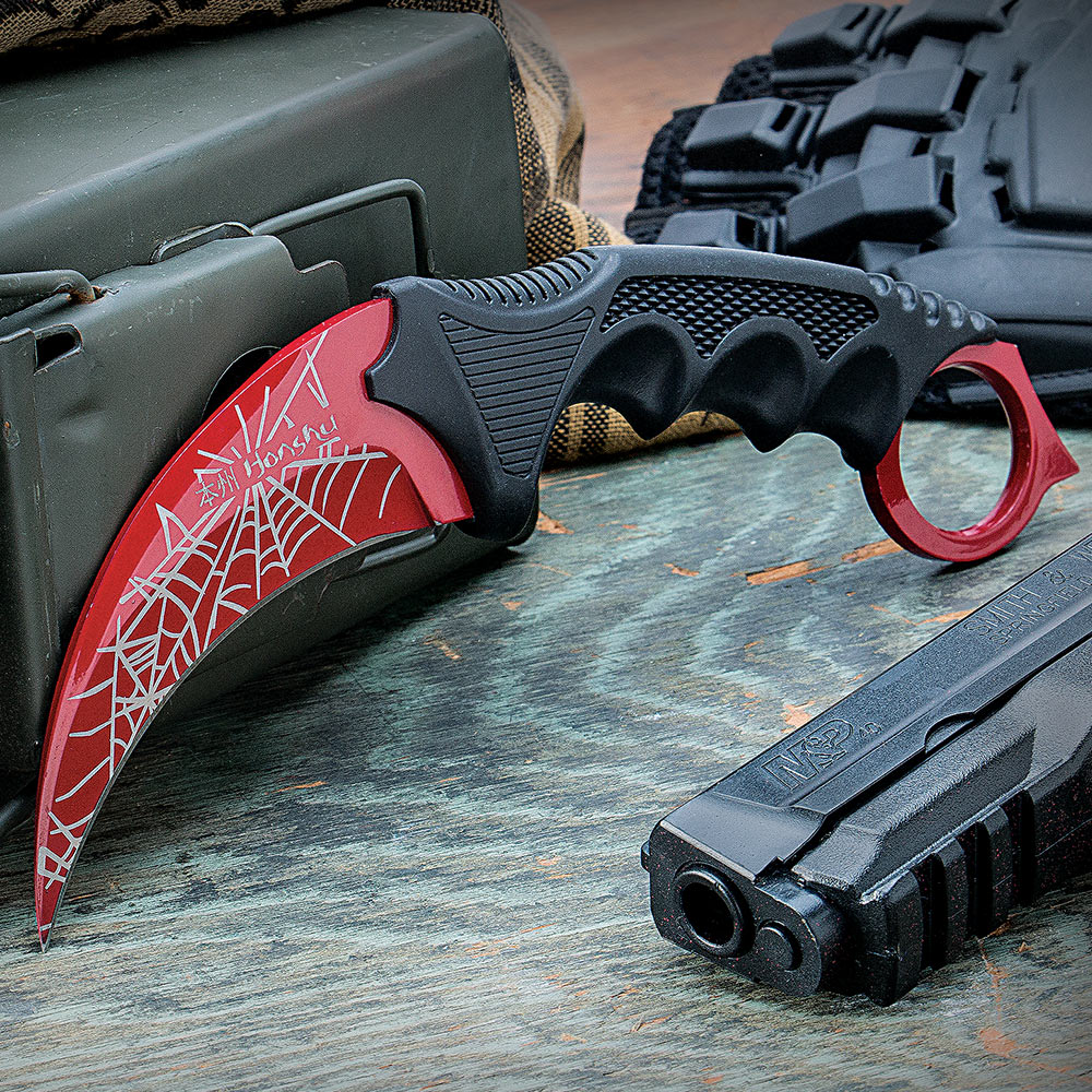 honshu red karambit spider web knives swords at the lowest prices. Black Bedroom Furniture Sets. Home Design Ideas