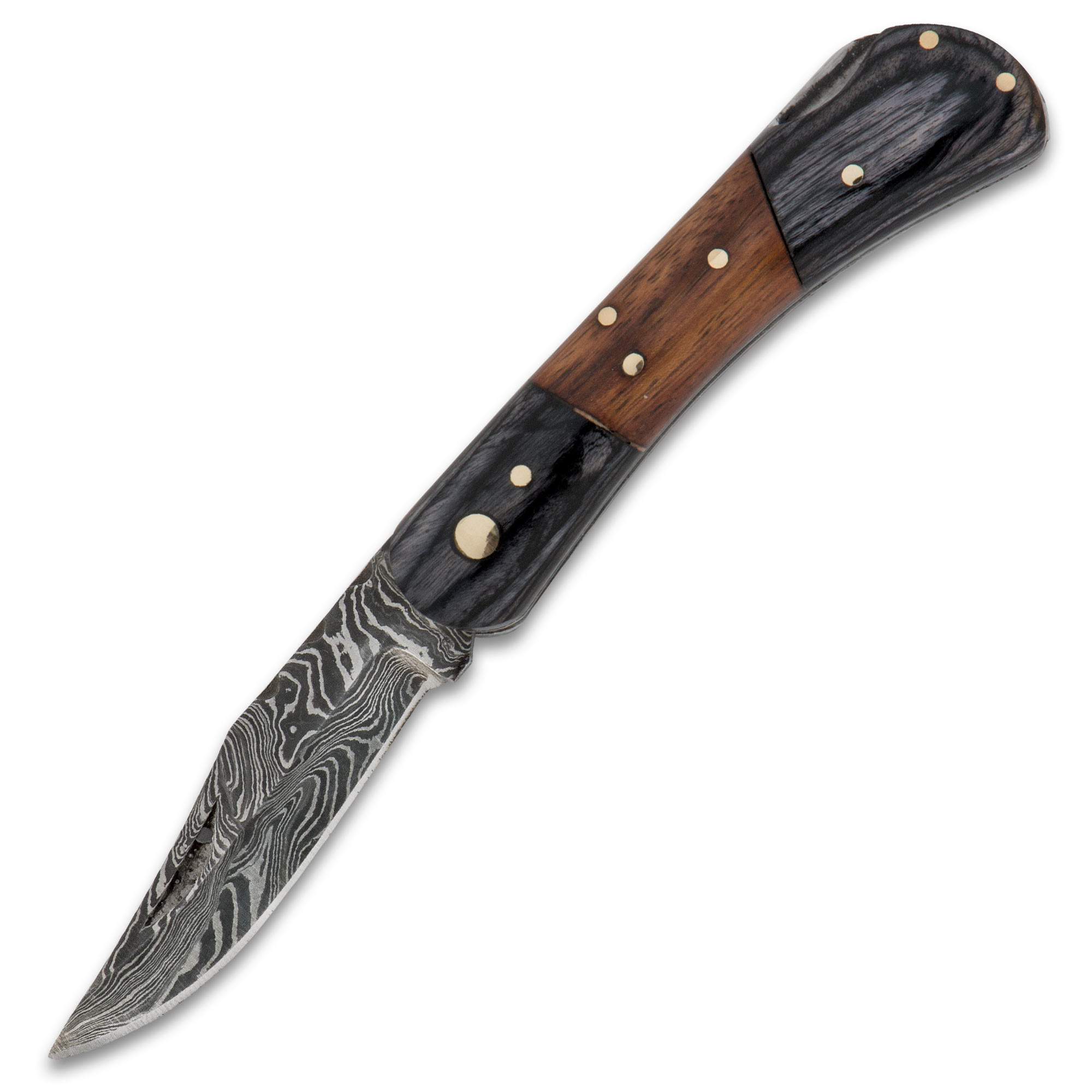 Timber Wolf File Worked Damascus Pocket Knife Chkadels