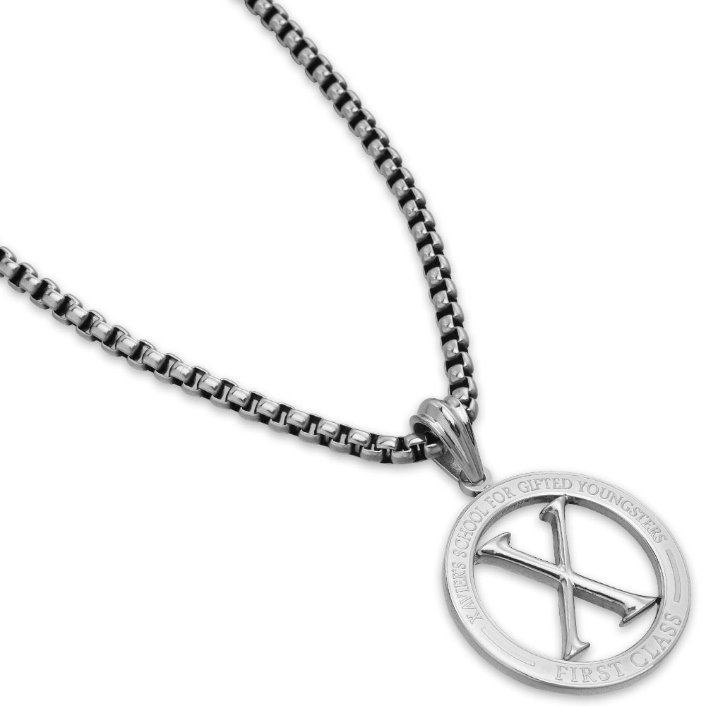 x class pendant on chain stainless steel necklace