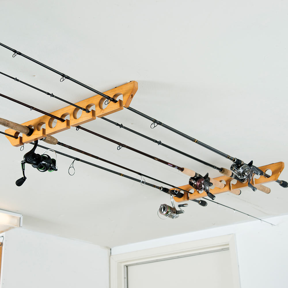 Wooden ceiling rod rack knives swords at for Ceiling fishing rod holders