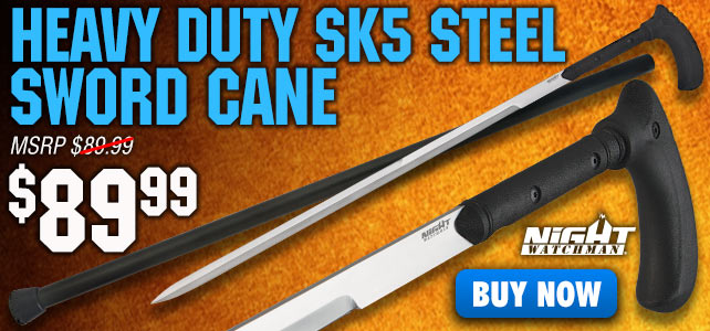 Night Watchman Heavy Duty SK5 Steel Sword Cane