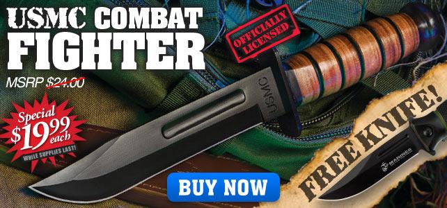 USMC Combat Fighter Fixed Blade Knife With USMC Green Combat Pocket Knife