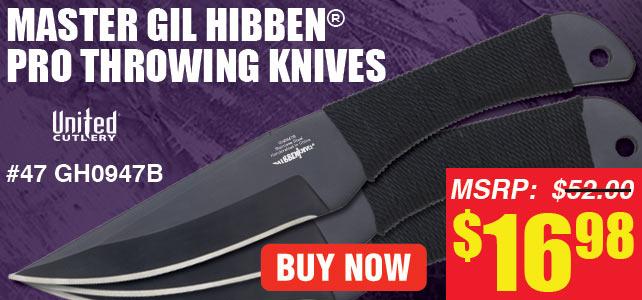 Gil Hibben Black Triple Pro Throwing Knife Set
