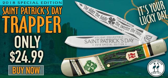 Kissing Crane 2018 Limited Edition St. Patrick's Day Trapper / Pocket Knife