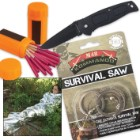 Minimalist Survival Kit with Matches, Knife, Shelter & Saw