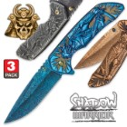 Shadow Warrior Pocket Knife Collection - Three Assisted Opening Folders - DamascTec Steel Blades