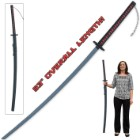 Huge, Extra Long Fantasy Katana Sword with Chain - Stainless Steel Blade, Nylon-Wrapped Handle, Cast Metal Tsuba - Overall Length 56""