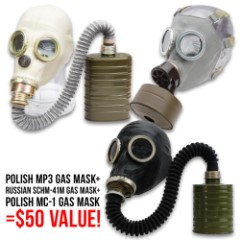 Gas Mask Collector's Kit - Three Gas Masks, Genuine Military Surplus, Transport Bags And Filters Included, Like New