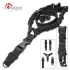 One Point Bungee Rifle Sling With Steel Clip - Black