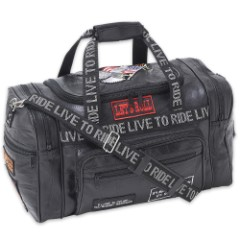Genuine Leather Live to Ride Luggage Tote Bag