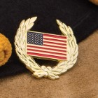 Gold Colored USA Flag Wreath Hat Pin