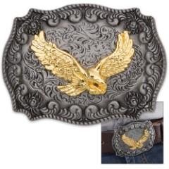 Antique Finish Golden Eagle Belt Buckle