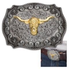 Antique Finish Golden Bull Belt Buckle