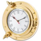 Ship Porthole Wall Clock - High-Quality Brass Construction, Roman Numerals, Working Porthole - Diameter 9""