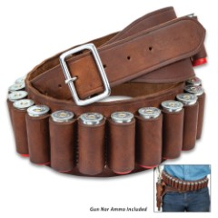 24-Shell Shotgun Ammo Belt - Premium Leather Construction, Metal Buckle, Individual Loops, White Top-Stitching