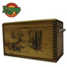 Wooden Accessory Box With Rope Handles - Deer