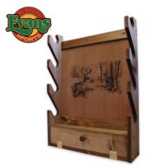 Wooden 4-Gun Rack With Storage Area – Deer