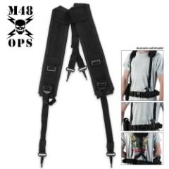 M48 OPS GI Style Suspenders Black