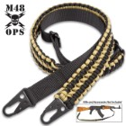 "M48 Paracord Two-Point Gun Sling - 250 LBS Strength, Paracord And Nylon Webbing, Metal Hardware, Adjustable From 41"" Up To 52"""
