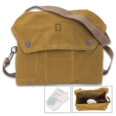 Finnish Military Issue Gas Mask Bag – Used – Olive Drab Heavy-Weight Canvas, Cotton Webbing Strap, Metal Hardware
