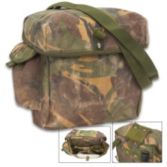 British Military Issue Camo Gas Mask Bag – Used – Heavy-Duty Nylon, Belt Loop, Shoulder Strap, Internal Pockets