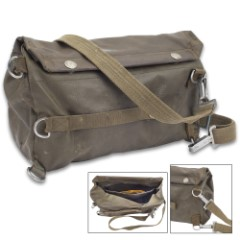 Swiss Military Issue Gas Mask Bag – Used – Rubberized Vinyl Material, Waterproof, Adjustable Shoulder Strap