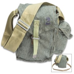 Polish Puma Camo Gas Mask Bag With Strap – Used, Adjustable Shoulder Strap, Top Flap With Canvas Strap