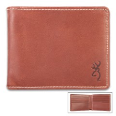 Browning Bandera Leather Bi-Fold Wallet – Cognac Color Leather, Stamped Buckmark Logo, Contrast Stitching, Cotton Twill Lining
