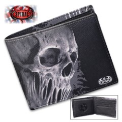 Bat Curse Bifold Wallet With RIFD Blocking - Faux Leather, Vivid Original Artwork, Eight Card Slots, Gift Box Included
