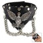 """Hardcore Eagle Emblem Cuff Bracelet - Made Of Leather, Stainless Steel Accents, Snap Closure - Length 9""""x 1 1/2"""""""