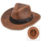 World Adventurer Hat - Genuine Chocolate Leather, Shapeable Brim, Black Fedora-Style Hat Band, Inside Elastic Band