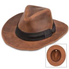 World Adventurer Hat - Genuine Chocolate Leather, Shapeable Brim, Black Fedora-Style Hat Band, Inside Elastic Band