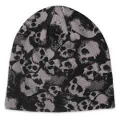 Screen Printed Skull Mayhem Knit Beanie Hat