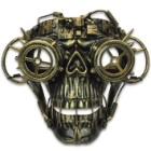 "Brass Steampunk Skull Masquerade Mask - Sculpted Flexible Plastic, Silk Tie Ribbons, Original Design - Dimensions 8 1/4""x7""x4 1/2"""