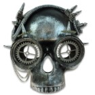 "Steampunk Skull And Goggles Masquerade Mask - Sculpted Flexible Plastic, Silk Tie Ribbons, Original Design - Dimensions 8 1/2""x 7 1/2""x 4 1/2"""
