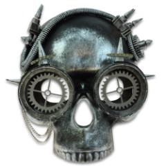 "Steampunk Skull And Goggles Masquerade Mask – Sculpted Flexible Plastic, Silk Tie Ribbons, Original Design – Dimensions 8 1/2""x 7 1/2""x 4 1/2"""