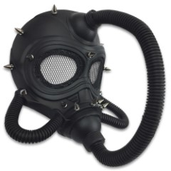 "Black Steampunk Submarine Gas Mask Masquerade Mask – Sculpted Flexible Plastic, Silk Tie Ribbons, Original Design – Dimensions 10 1/4""x9""x8 1/2"""