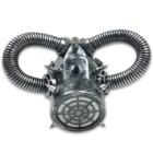 "Silver Steampunk Respirator Masquerade Mask - Sculpted Flexible Plastic, Silk Tie Ribbons, Original Design - Dimensions 9""x6 1/2""x3 1/2"""