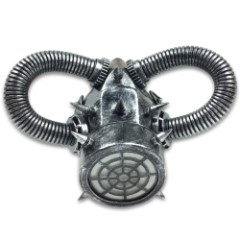 "Silver Steampunk Respirator Masquerade Mask - Sculpted Flexible Plastic, Silk Tie Ribbons, Original Design - Dimensions 9""x6 1/2""x3 1/2"""