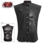 Death Rage Sleeveless Black Stone Washed Worker Shirt – 100 Percent Cotton Denim, Original Artwork, Azo-Free Reactive Dyes