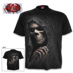 Grim Reaper Black T-Shirt - Top Quality 100 Percent Cotton Jersey, Original Artwork, Azo-Free Reactive Dyes