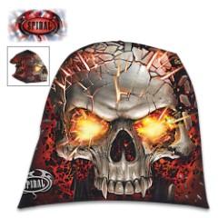 Skull Blast Light Cotton Black Beanie – Hat, Light Cotton Jersey Construction, Azo-Free Reactive Dyes, Original Artwork