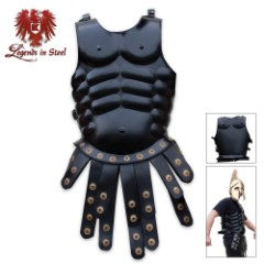 Legends in Steel Middle Ages Muscled Front & Back Cuirass Armor Black Coated