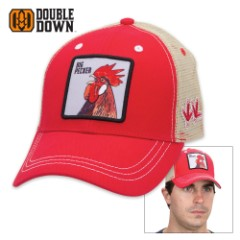 Double Down Big Pecker Trucker Cap - Red Heavy Brushed Twill with Tan Mesh