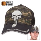 Double Down Punisher of Evil Trucker Cap - Zebra Camo and Black Polyester Mesh