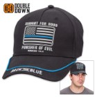 Double Down Back the Blue Romans 13:4 Light Twill Cap – Available in Black or Gray