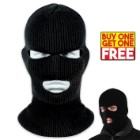 Knit Acrylic Ski Mask / 3-Hole Facemask - Black - BOGO