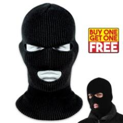Knit Acrylic Ski Mask / 3-Hole Facemask - Black - BOGO